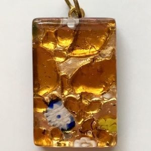 Jewelry - Gold with Blue Flower Fused Murano Glass Pendant